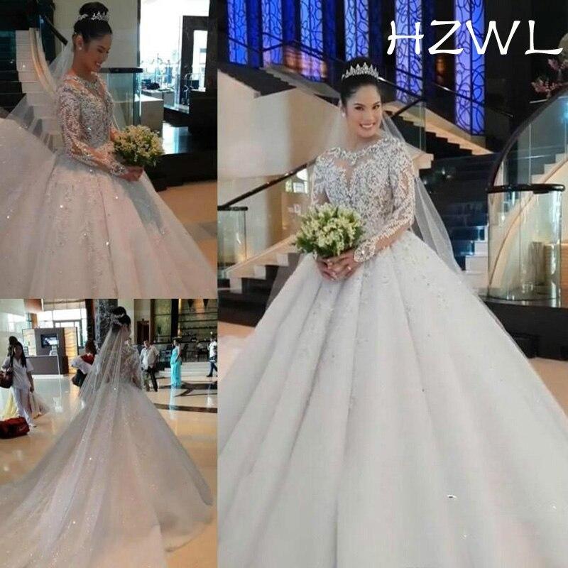 Vintage Handmade Wedding Dresses Puffy Sheer Neck Long Sleeves Garden Bride Bridal Gowns Plus Size Custom Made Vestido De Noiva