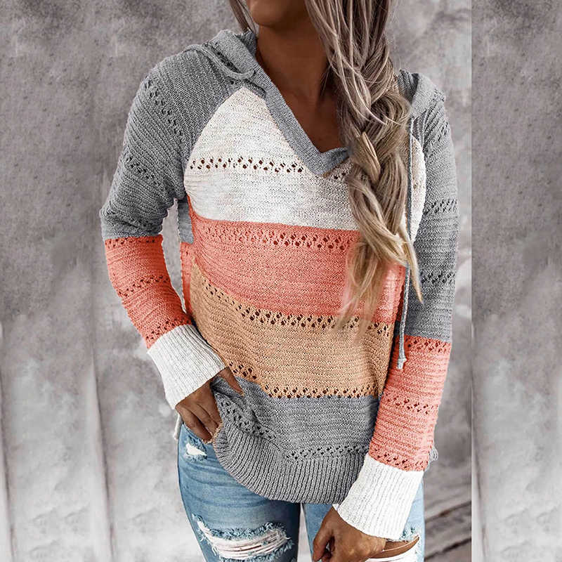 Hooded Sweater Vrouwen Streep Patchwork Truien Hollow Out Losse Truien Dames Herfst Lange Mouw Casual Gebreide Jumpers