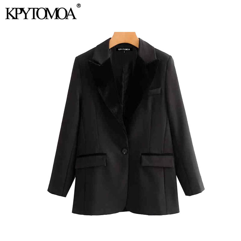 Vintage Stylish Pockets Velvet Patchwork Blazer Coat Women 2020 Fashion Notched Collar Long Sleeve Female Outerwear Chic Tops