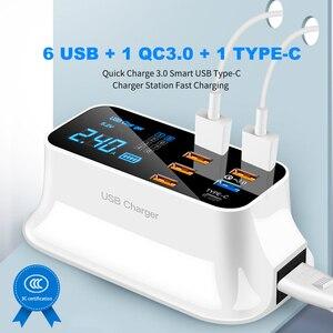 Image 1 - PD Quick Charge 3.0 USB ChargerจอแสดงผลLEDประเภทCชาร์จแบบพกพาเดินทางสมาร์ทสถานีชาร์จสำหรับiPhone Samsung Xiaomi mi 8