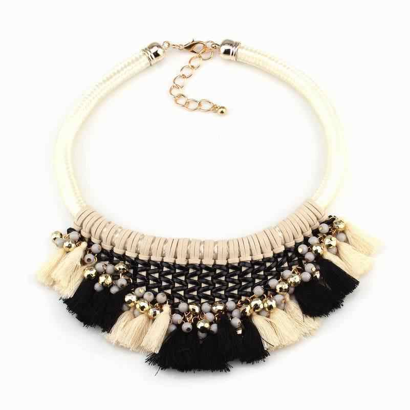 fashion 2019 new arrival brand neon colorful rope chain handmade tassel chunky bead chain statement necklace for women jewelry
