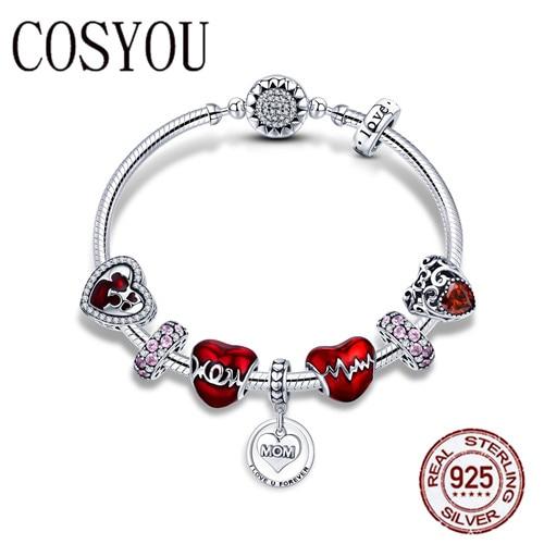 COSYOU 925 серебро романтическое сердце любовь мама навсегда кулон подарок матери браслеты для женщин серебряные ювелирные изделия SCB807
