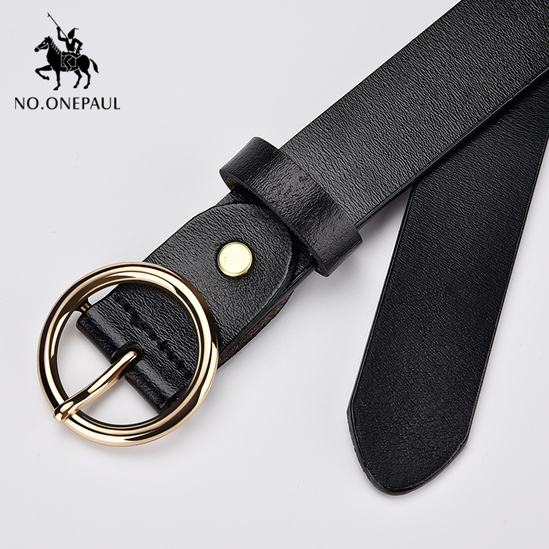 NO.ONEPAUL Women's Belt Hot Latest Fashion Design Ring Silver Pin Buckle Retro Simple Punk Ladies Metal Belt For Jeans Or Dress
