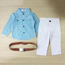 Одежда для маленьких мальчиков Осенняя детская одежда клетчатая детская одежда для мальчиков комплект джентльмена для детей рубашка с длинными рукавами штаны с поясом