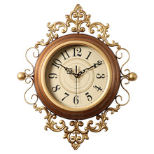Retro Large Wall Clock Silent Vintage Clock On The Wall For Living Room Classical Wall Watches Home Decor Metal Wall Decorations