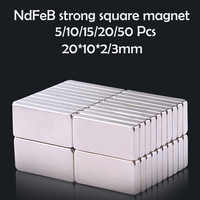 5/10/15/20/50Pcs 20x10x2/3mm Neodymium Magnet 20mm x 10mmx2 N35 NdFeB Block Super Powerful Strong Permanent Magnetic imanes Disc