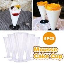 Пластиковая чашка для пудинга одноразовый салат смузи торт Свадебные чашки для десерта емкость для смузи Прозрачный 5 шт. молоко экономичное лето
