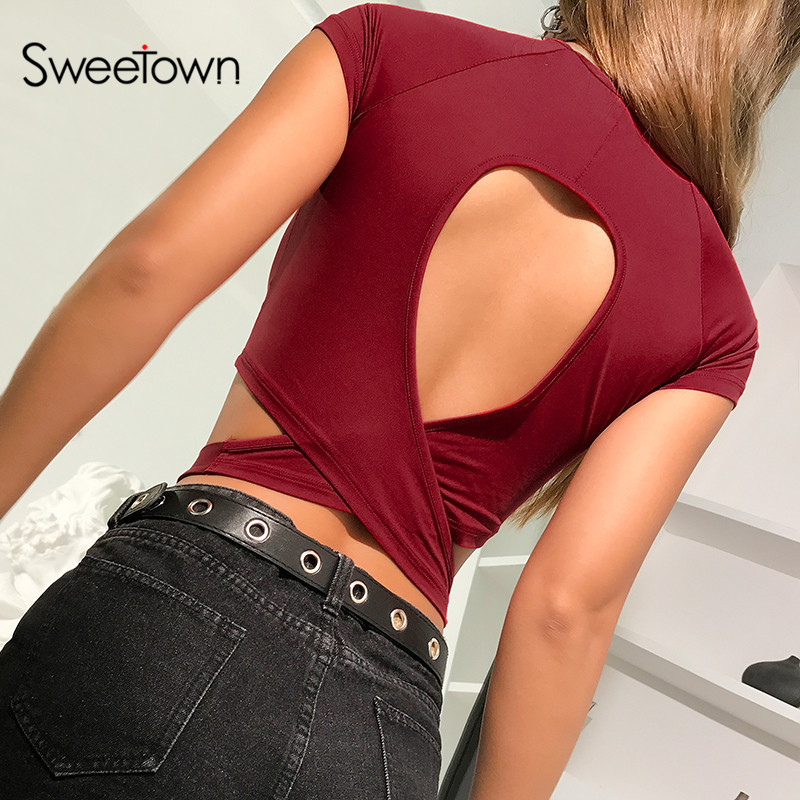 Sweetown 2020 Summer Short Sleeve Solid Crop Top Tee Shirt Femme Backless Sexy Bandage Top Female Red Fashion Slim Streetwear