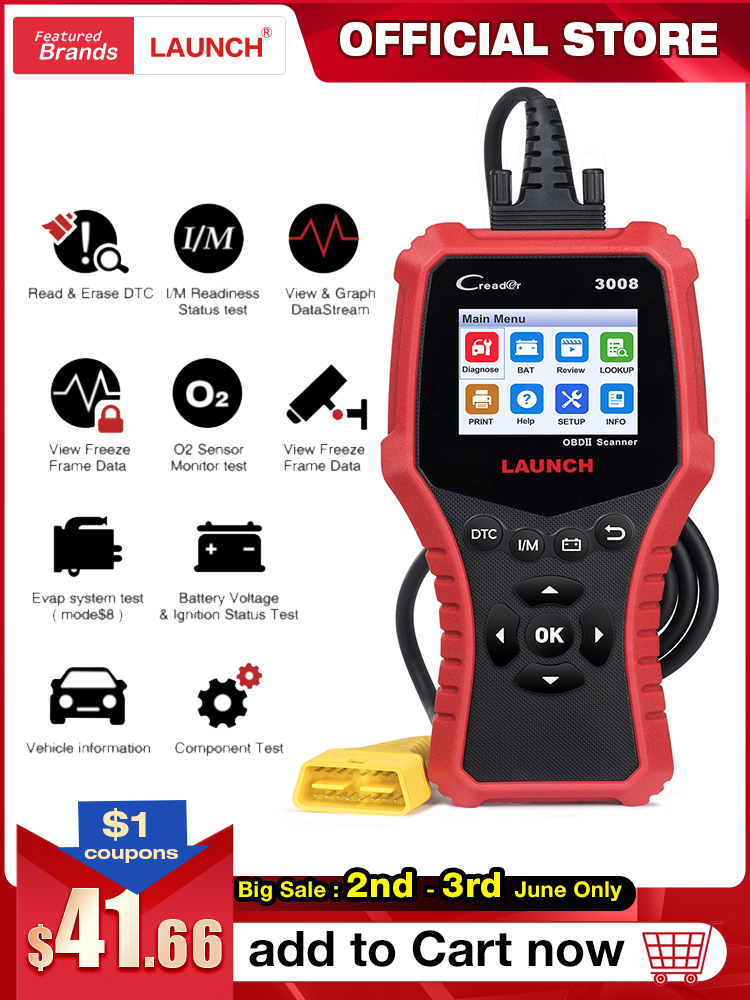 LAUNCH Battery Diagnostic-Tool Code-Reader Automotive-Scanner Update OBD2 CR3008 OBDII