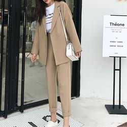 Casual Solid Women Pant Suits Notched Collar Blazer Jacket & Pencil Pant Khaki Female Suit Autumn 2019 high quality