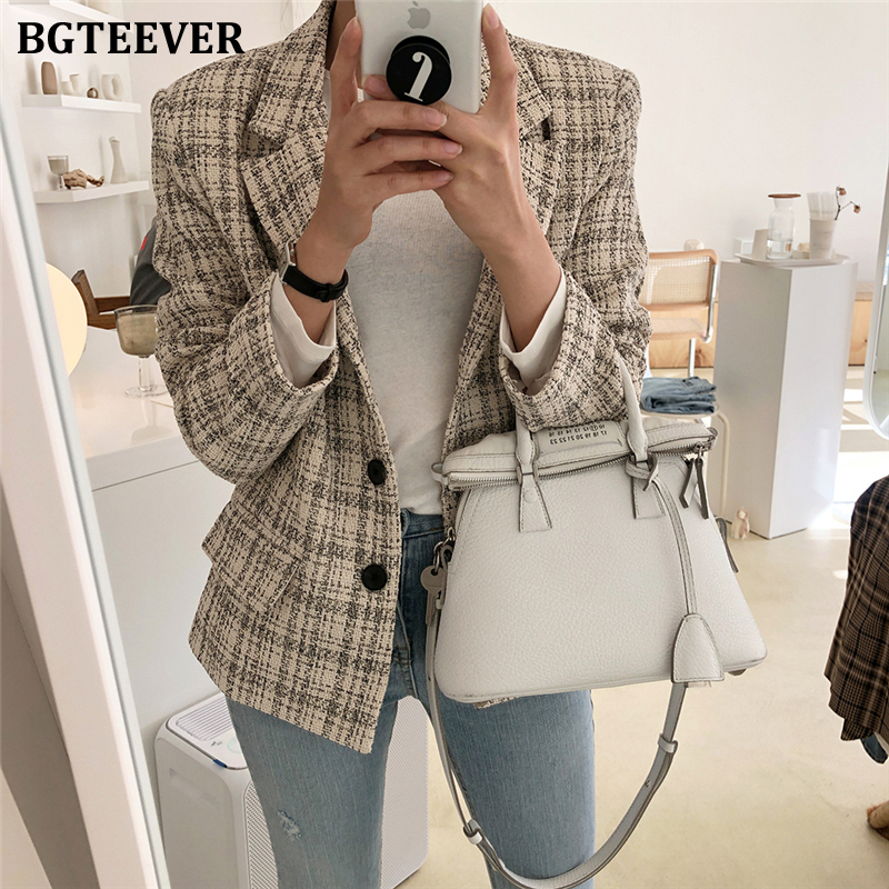 BGTEEVER Fashion Plaid Single-breasted Women Suit Jackets Notched Collar Pockets Vintage Slim Female Blazer Jacket 2020 Spring