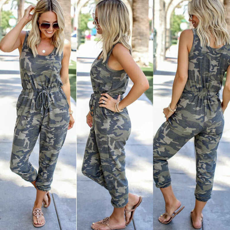 Women's Camouflage Jumpsuit Romper Summer Sleeveless Ankle Length Holiday Party Club Wear