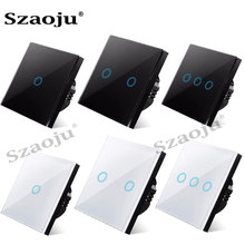 Szaoju Touch Switch EU Standard White Crystal Glass Panel Light Switch Ac110-220v Switch 1 Gang 1 Way ,Wall Lamp Touch Switch