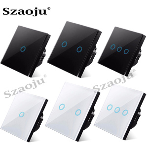 Szaoju touch switch EU standard white crystal glass panel light switch Ac110-220v switch 1gang 1 way ,wall lamp touch switch