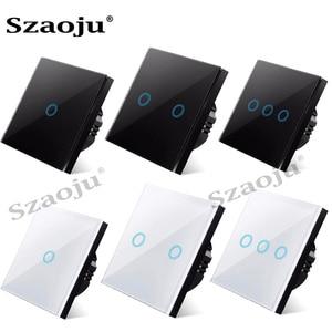 Szaoju touch switch EU standard white crystal glass panel light switch Ac110-220v switch 1gang 1 way ,wall lamp touch switch