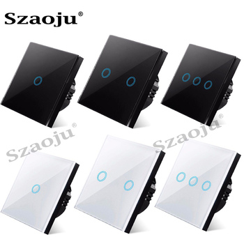 Szaoju touch switch EU standard white crystal glass panel light switch Ac110-220v switch 1gang 1 way ,wall lamp touch switch eu uk standard light wall touch screen switch ac110 240v touch switch crystal glass panel 1 2 3 gang 1 way wall touch switch