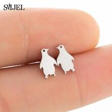 SMJEL – boucles d'oreilles en forme de pingouin pour femmes et filles, bijoux simples en acier inoxydable