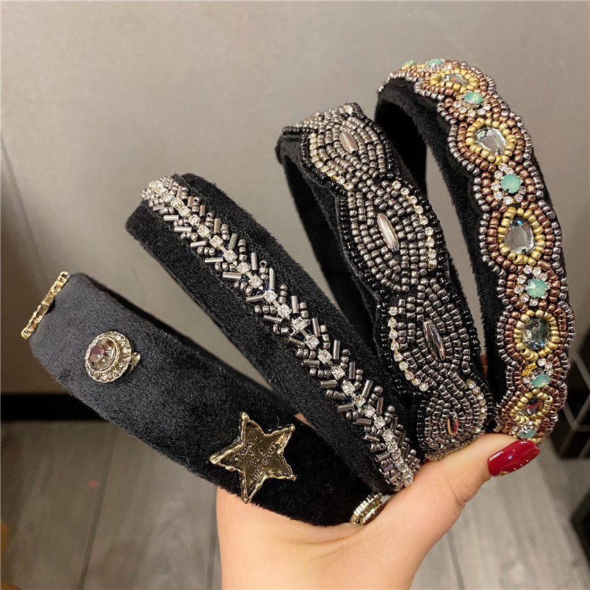 Velvet Crystal Pearl Flower Headband Solid Color Hair Band For Women Trendy Women Vintage Hair Accessories Pearl Head Bands