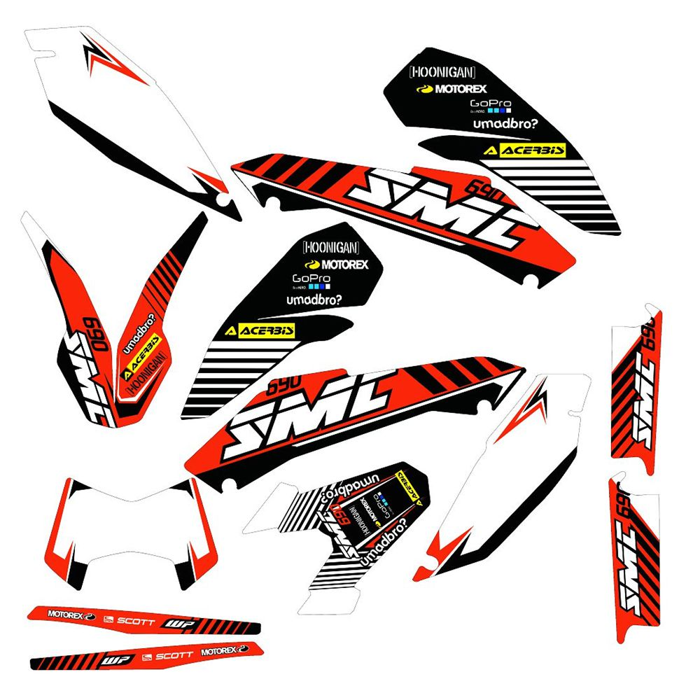 New Full Graphics Decals Stickers Custom Number Name 3M Bright Stickers Waterproof For KTM 690 SMC 2008-2012