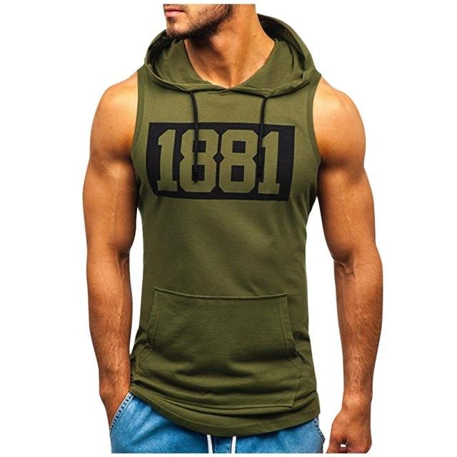 Men Hoodies Tank Top Sleeveless Muscle Gym Sport Slim Vest Bodybuilding Hooded Hip Hop Streetwear Workout Elastic Men Tank Top 1
