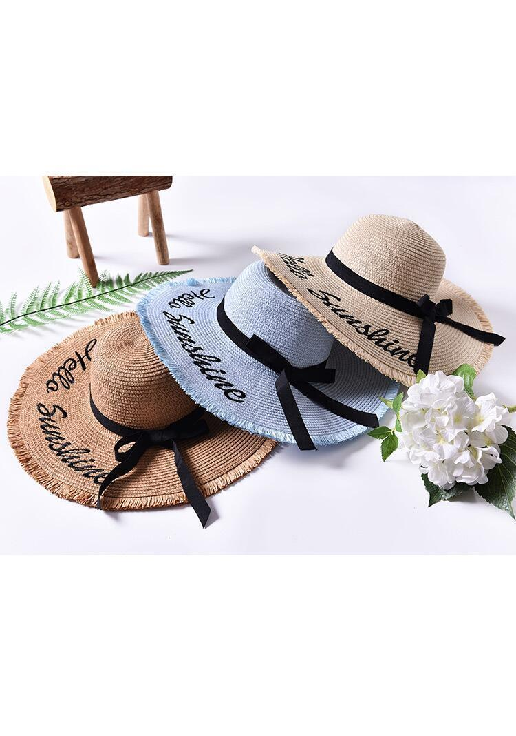 Hb06549b0908e4af7ab2b159fdc394952z - Handmade Weave letter Sun Hats For Women Black Ribbon Lace Up Large Brim Straw Hat Outdoor Beach hat Summer Caps Chapeu Feminino