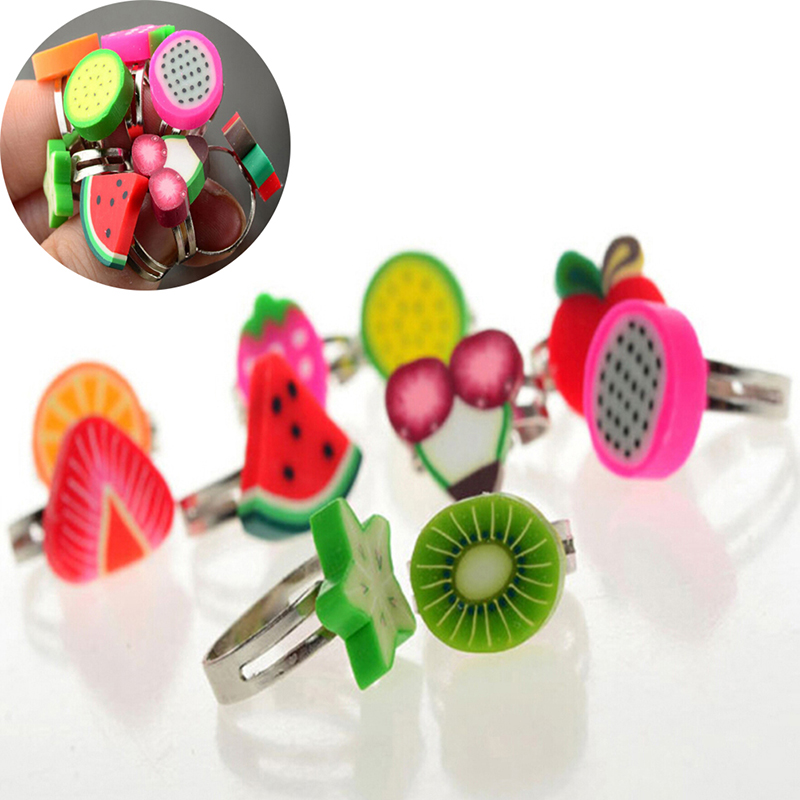 10Pcs/lot Adjustable Cartoon Polymer Clay Fruit  Rings For Girls Dress Up Accessories Party Kids Toy Random Color