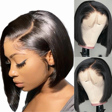 Short Bob Human-Hair Side-Part Wigs Lace 150-Density Black-Women Brazilian Angelbella