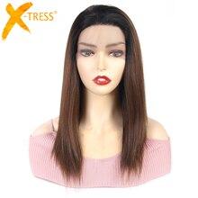 Коричневые синтетические кружевные передние парики с эффектом омбре для женщин, высокотемпературные волосы из искусственных волос, прямой кружевной парик, бесплатная часть с детскими волосами