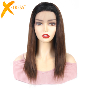 Image 1 - Ombre Brown Synthetic Lace Front Wigs For Women High Temperature Fiber Hair X TRESS Straight Lace Wig Free Part With Baby Hair