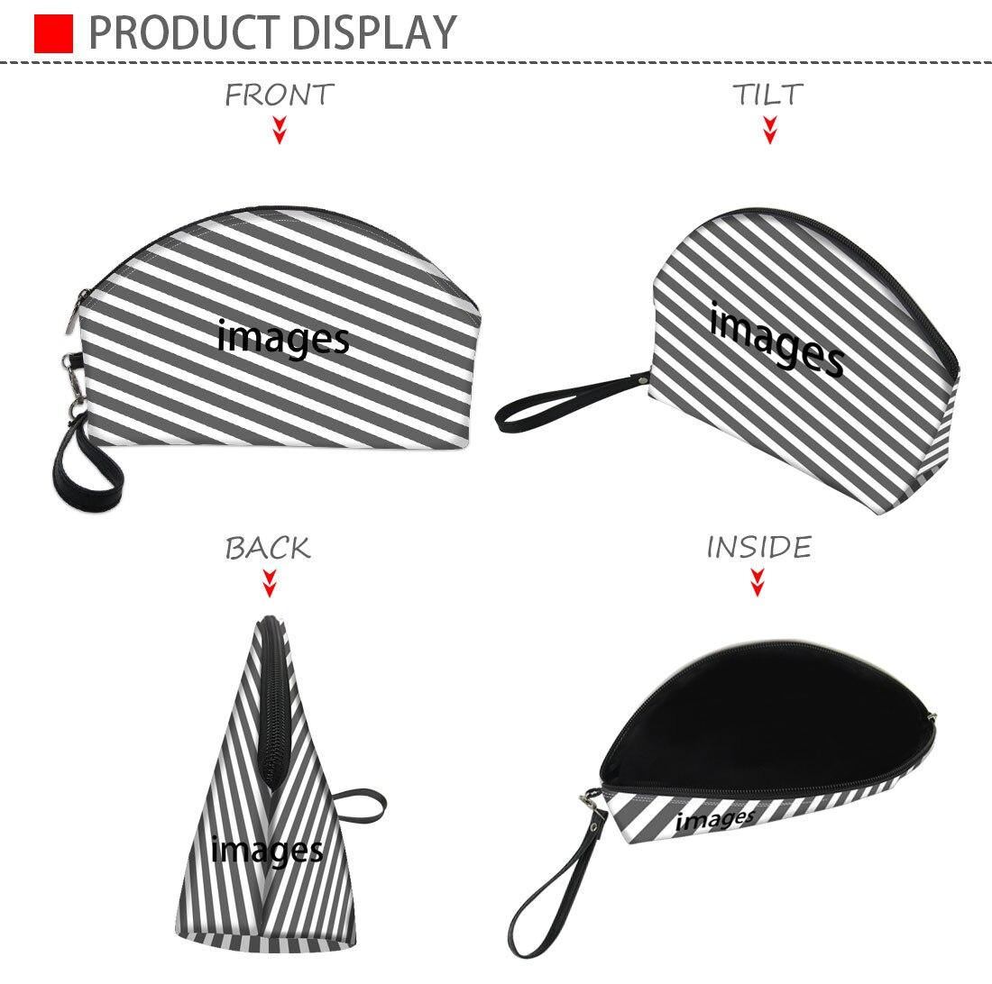 Whereisart preto branco 3d impressão saco cosmético