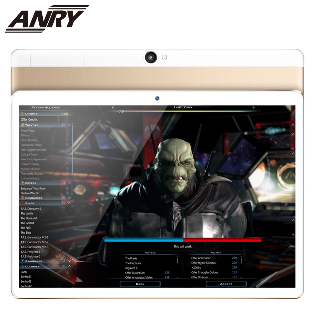 ANRY 4G LTE 10.1 Inch Android Tablet Big Battery 4GB RAM 64GB ROM Touch Screen Slim Metal Cover Dual SIM Card 1280x800 IPS