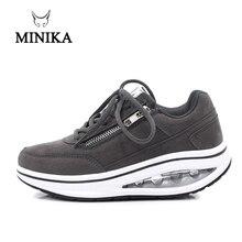 Новинка; зимняя женская уличная обувь для фитнеса; кроссовки на танкетке со шнуровкой; спортивная обувь для похудения; женская Тонизирующая обувь для прогулок