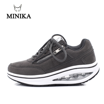 New Winter Women Outdoor Fitness Shoes Lace Up Wedge Sneakers Body Shaping Sport Slimming Shoes Ladies Toning Shoes Walking 4 5 cm height toning shoes for women fitness walking slimming workout sneakers wedge platform air swing shoes for female