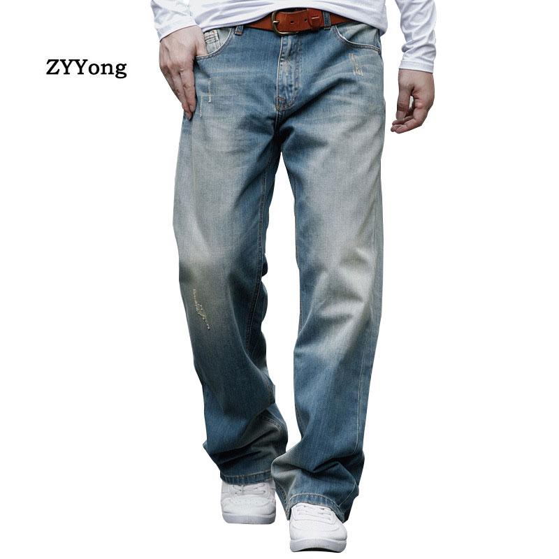 Spring and Autumn Baggy Men Jeans Straight Large Size Wide Leg Denim Pants Cotton Loose Hip Hop Skateboard Blue Leisure Trousers