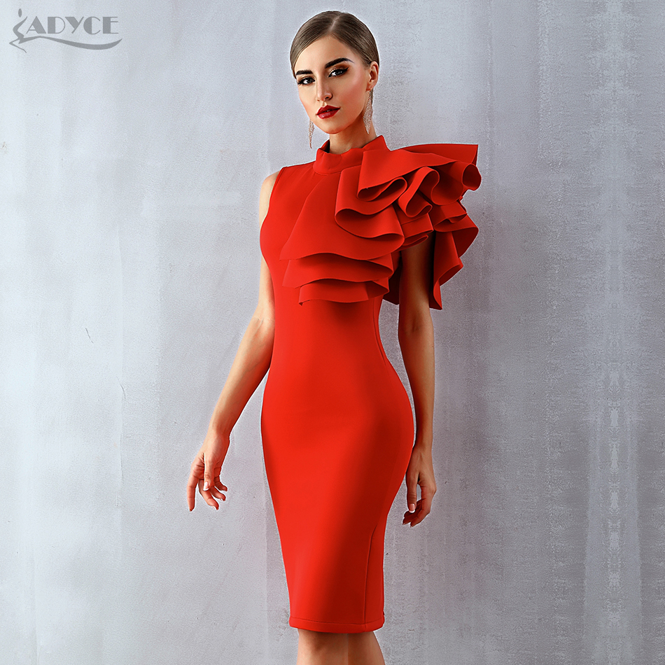 Adyce 2019 New Summer Women Celebrity Runway Party Dress Vestido Sexy White Red Sleeveless Ruffles Bodycon Midi Night Club Dress