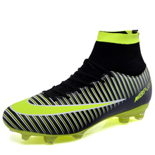 Outdoor Football Boots Men Boys Long Spikes Soccer Shoes High Top Sneakers Men Cleats Trainers Football Shoes Chuteira Futebol