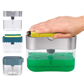 Soap Dispenser Caddy Sponge Soap Pump New Creative Kitchen 2-in-1 Manual Press Liquid Soap Dispenser with Washing Sponge
