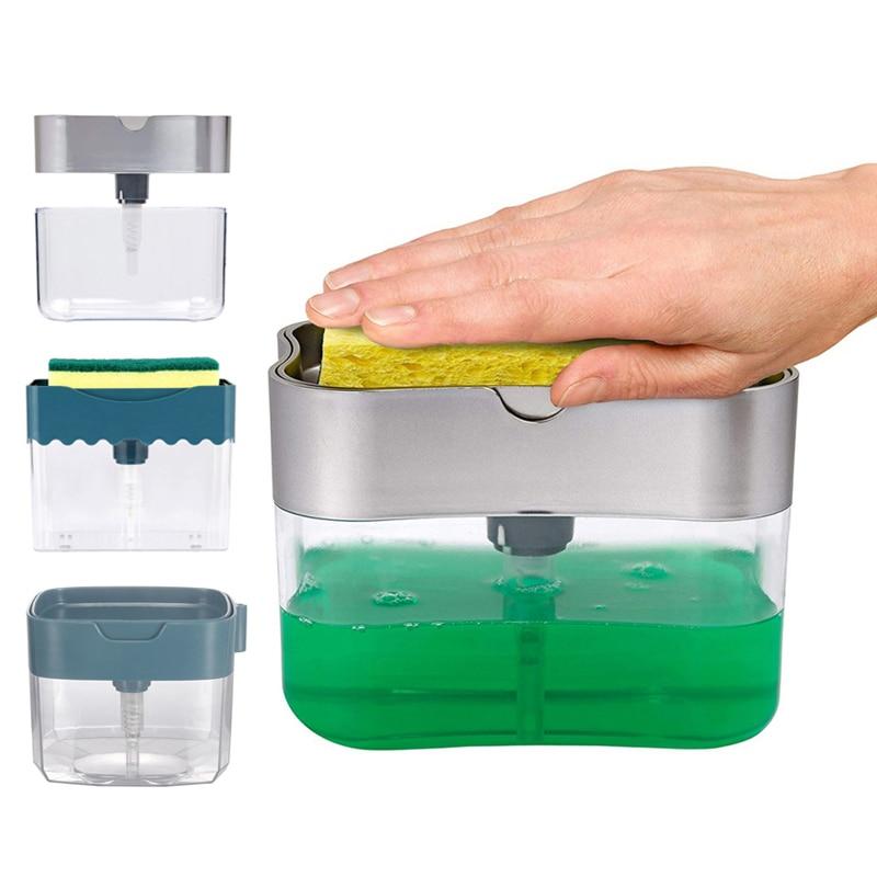 Soap Dispenser Soap Pump Sponge Caddy New Creative Kitchen 2 in 1 Manual Press Liquid Soap Dispenser With Washing Sponge Liquid Soap Dispensers  - AliExpress