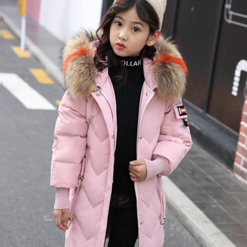 Image 4 - Winter Down Jacket for Girls Clothes parka real Fur Hooded Russian Winter Coat 2019 New Children Outerwear Long Teenage clothing-in Down & Parkas from Mother & Kids