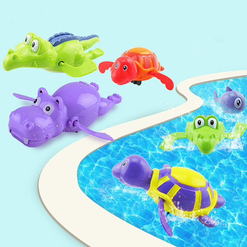 Cartoon Creative Children's Clockwork Toy Swimming Turtles Play Water Toys Kids Bath Pool Animals  Wind Up Toys