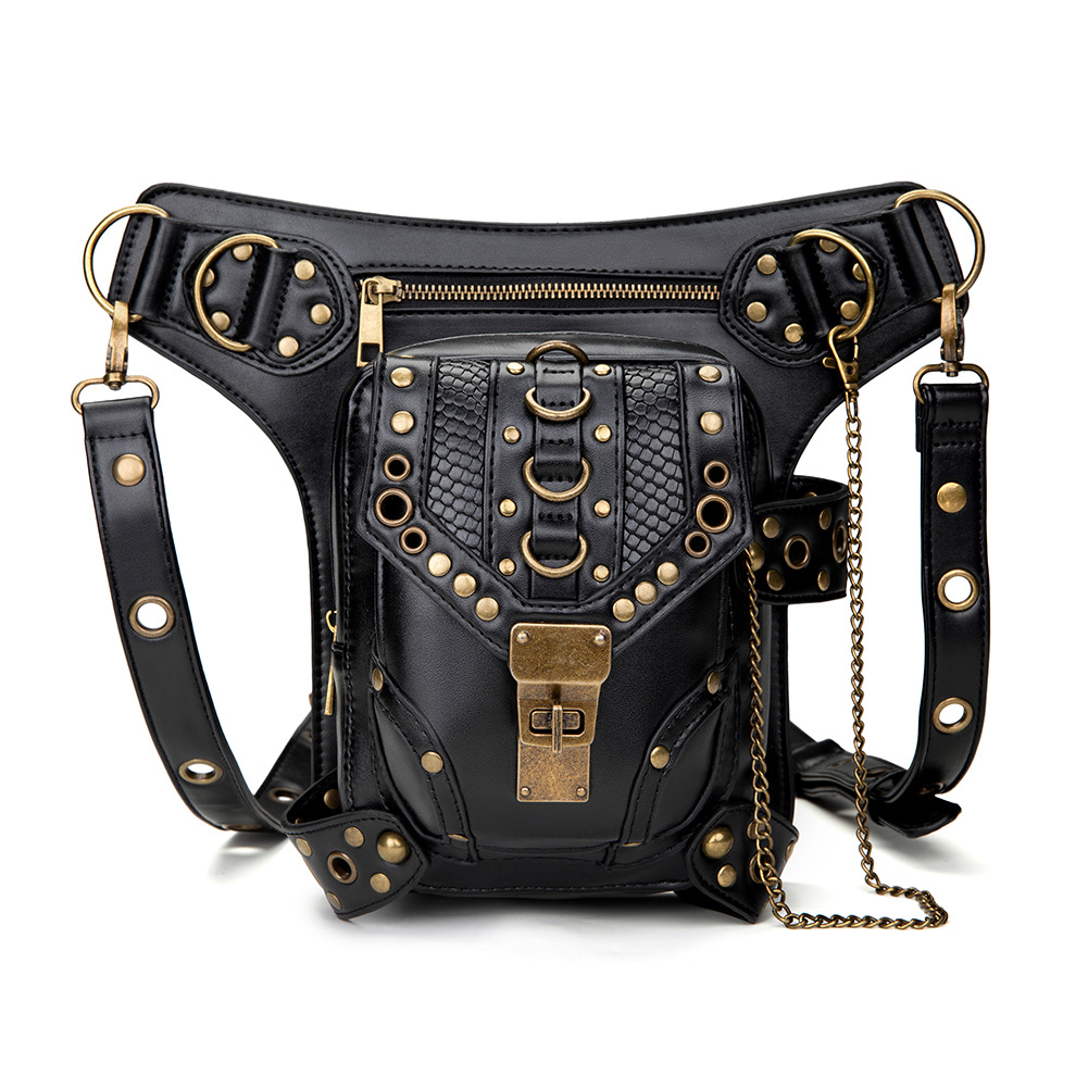 OMIKRON New PU Leather Steampunk Retro Waist Bag For Women Men Multi-function Black Travel Motorcycle Crossbody Chest Fanny Pack