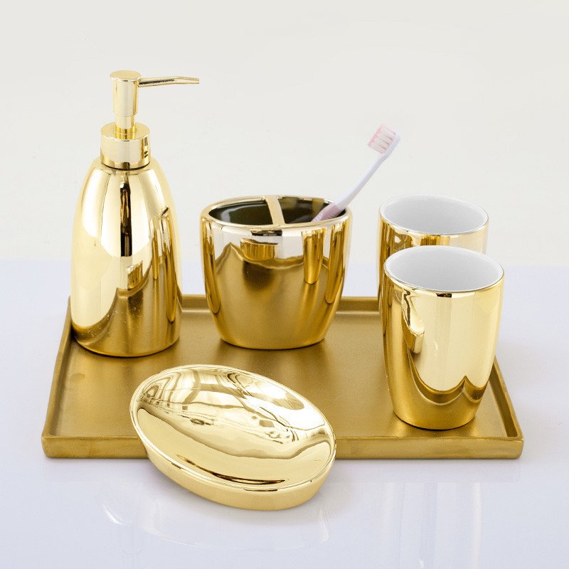 Bathroom Accessories Set Ceramic Soap Dispenser Toothbrush Holder Gargle Cup Soap Dish 5/6 Pieces Set With Tray Gold Finished image