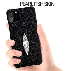 Image 5 - MYL 38V gerçek doğal su Stingray inci balık cilt hakiki deri arka kapak kılıf iPhone 12 11 Pro Max XR xs MAX 7 8 artı