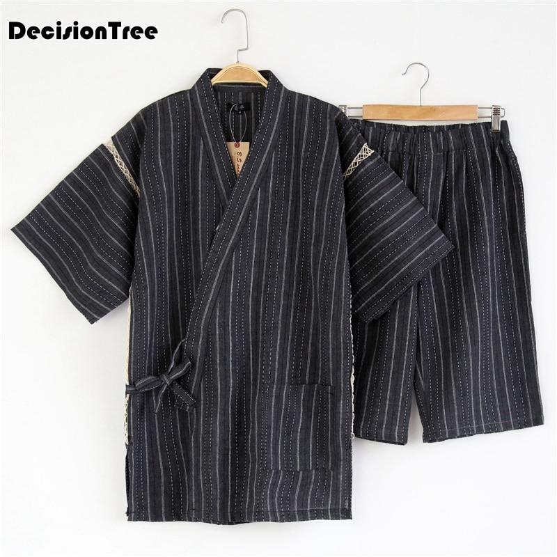 2020 Men Kimono Set Pajamas Japanese Style Cotton Homewear Tops Pants Bathrobe Solid Retro Casual Comfy Sleepwear Set Men