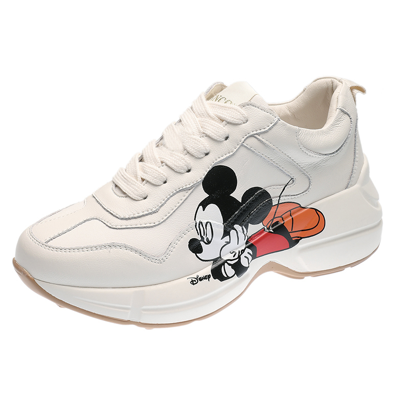 2020 Spring Women Sneakers Chunky Fashion Women Flats Platform Shoes Lace Up Vulcanize Cartoon Mickey Print Women Footwear