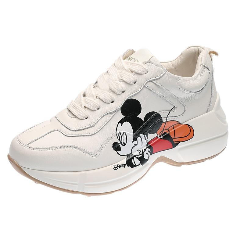 2020 Spring Women Sneakers Chunky Fashion Women Flats Platform Shoes Lace Up Vulcanize Cartoon Mickey Print Women Footwear