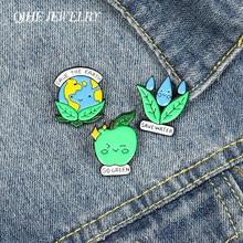Joyería QIHE Save Earth & Water esmalte Lapel Pins verde ambiente lindo broches insignias moda Pin regalos para amigos al por mayor
