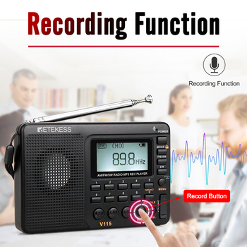 Радиоприемник RETEKESS V115 AM/FM/SW MP3 6