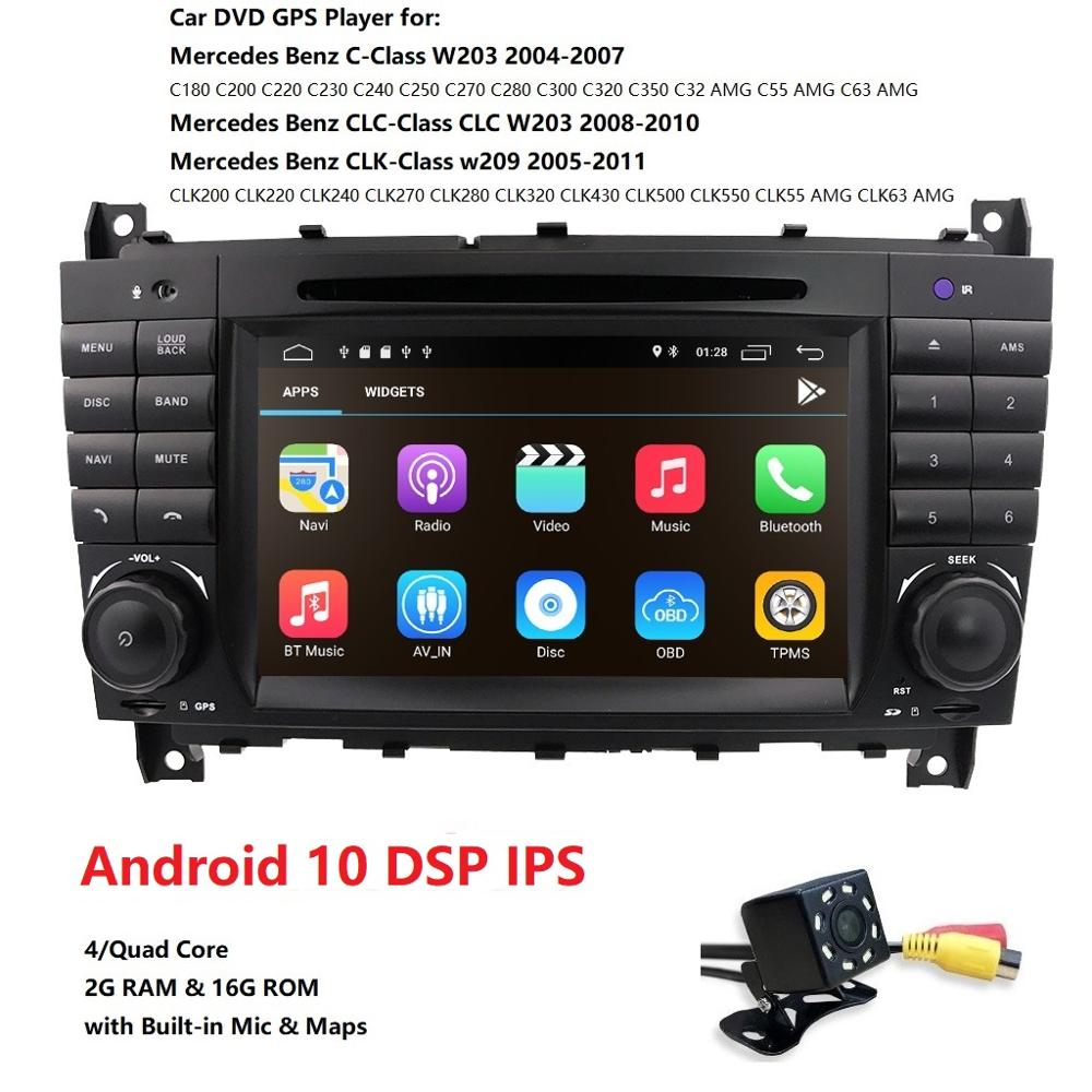 DSP IPS 4 Core 4G 2 Din Android 10 Car radio DVD multimedia <font><b>GPS</b></font> <font><b>for</b></font> Benz W209 W203 C180 <font><b>C200</b></font> C220 C230 C240 C250 C270 W463 OBD2 image