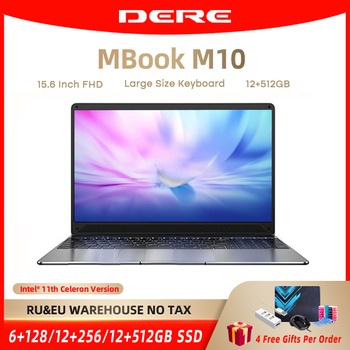 DERE Laptop MBook M10 15.6 Inch FHD Intel Celeron N5095 Core 12GB ROM 256/512GB Notebook Gaming Computer Windows 10 For Students 1